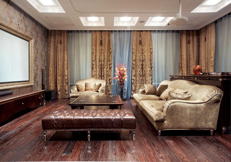 Интерьер дома неоклассика и напольное покрытие