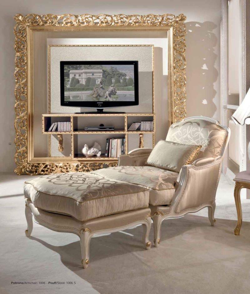 Кресло и пуф для ног - обивка серая Mida Romantic Emotion