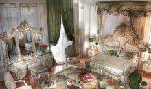 Спальня слоновая кость с богатой резьбой и росписью Asnaghi Interiors Valery