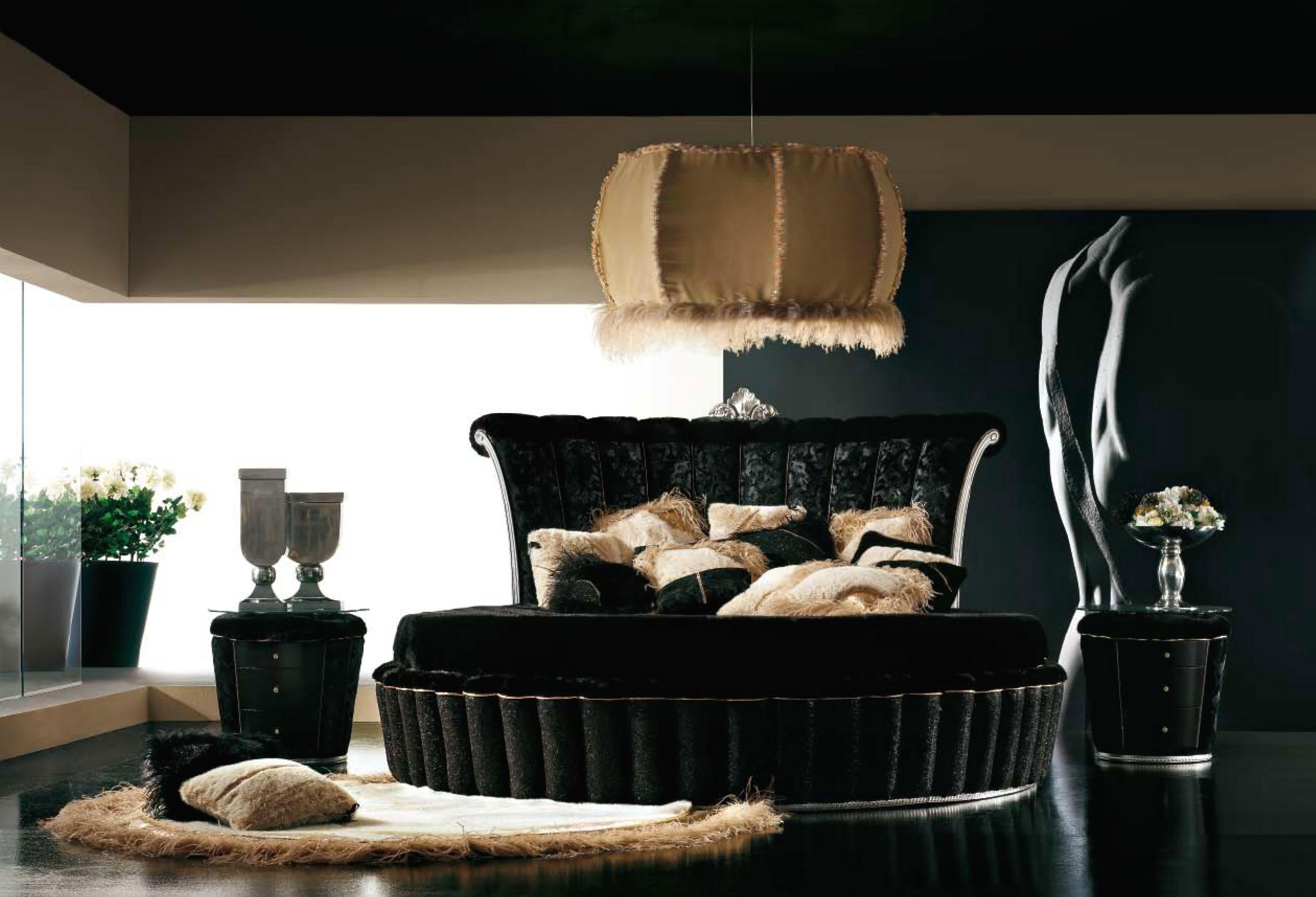Alta moda - круглая кровать черного цвета