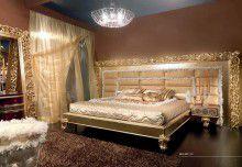 Кровать в золоте с большой резной рамкой Mida Cabiate Gold